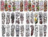 50 sheets skull totem fish rose full arm fake tattoo 18'' large bracelet tattoos