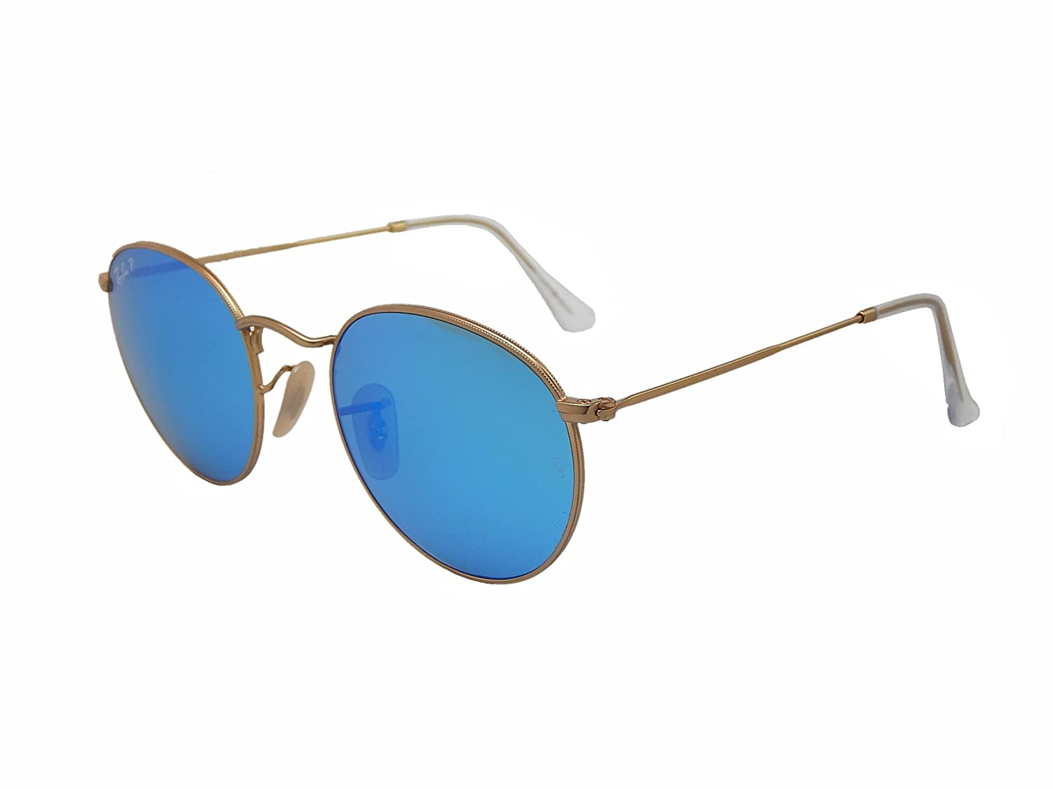 501e1a6ca9 Amazon.com  Ray Ban Round Metal RB3447 112 4L Gold Blue mirror 50mm  Polarized Sunglasses  Clothing