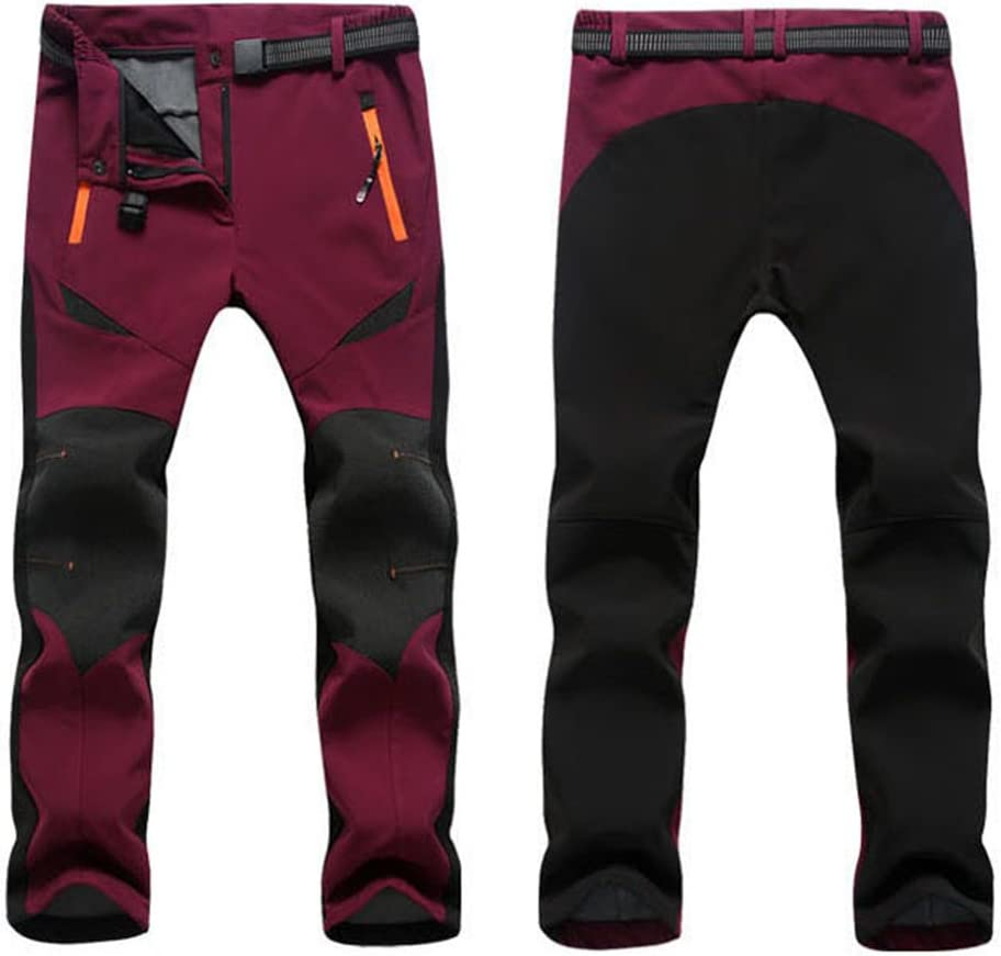 GITVIENAR Womens Stitching Color Waterproof Trousers Windproof Softshell Fleece Lined Climbing Pants Hiking Trousers