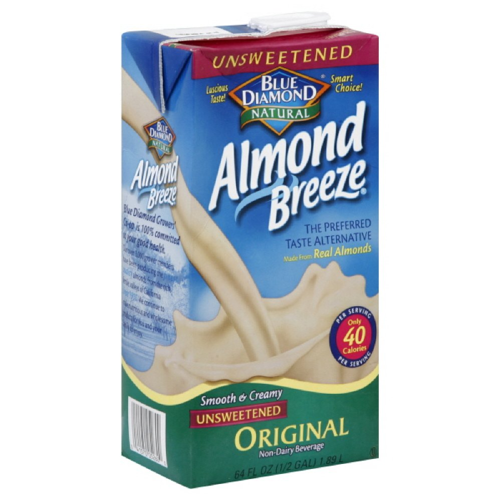 Blue Diamond Almond Breeze Unsweetened, 64-ounces (Pack of4)