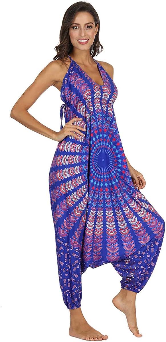 Plustrong Womens Sleeveless Strap V Neck Harem Jumpsuit Africa Print Romper