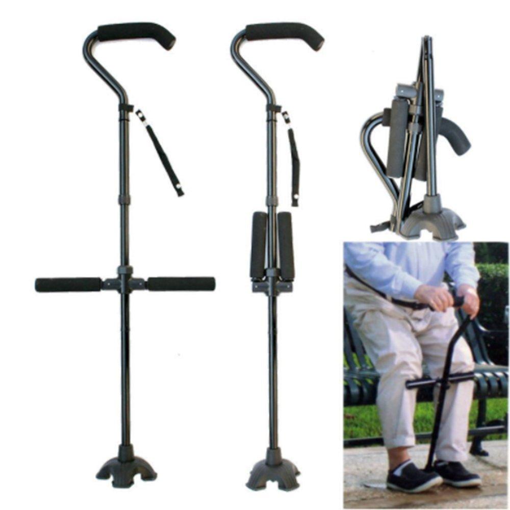 Folding Cane Aluminum Alloy Walking Stick Adjustable Height Three Armrests Non-Slip Telescopic Crutch Mobility Aid Comfortable Handles-813