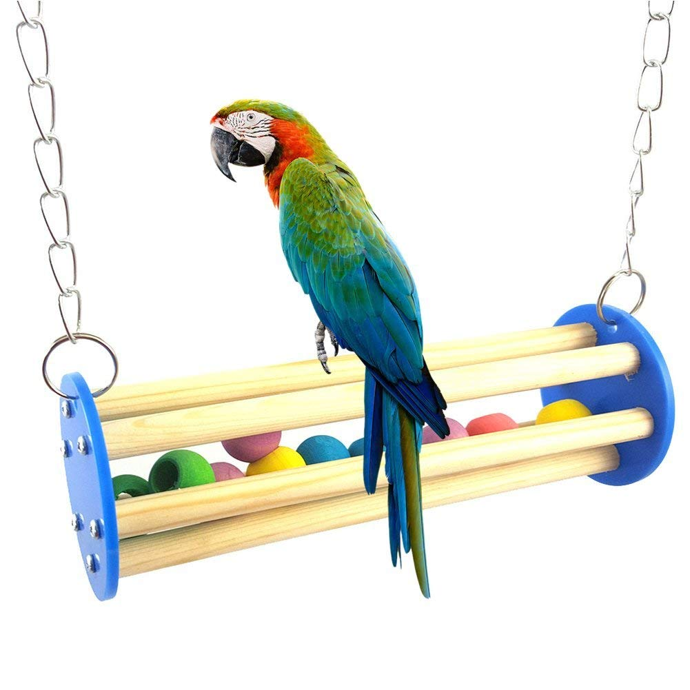 Pet Bird Squirrel Parrot Bead Chain Chewing Climbing Swing Bite Toy Cage Decor - Random Color Premium Quality by Yevison