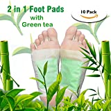 Foot Pads Upgraded 2 in 1 Patches,Lavender, Rose, Ginger, Green Tea, Wormwood, Bamboo Charcoal Foot Care Pad 10 Foot Pads (Green Tea)