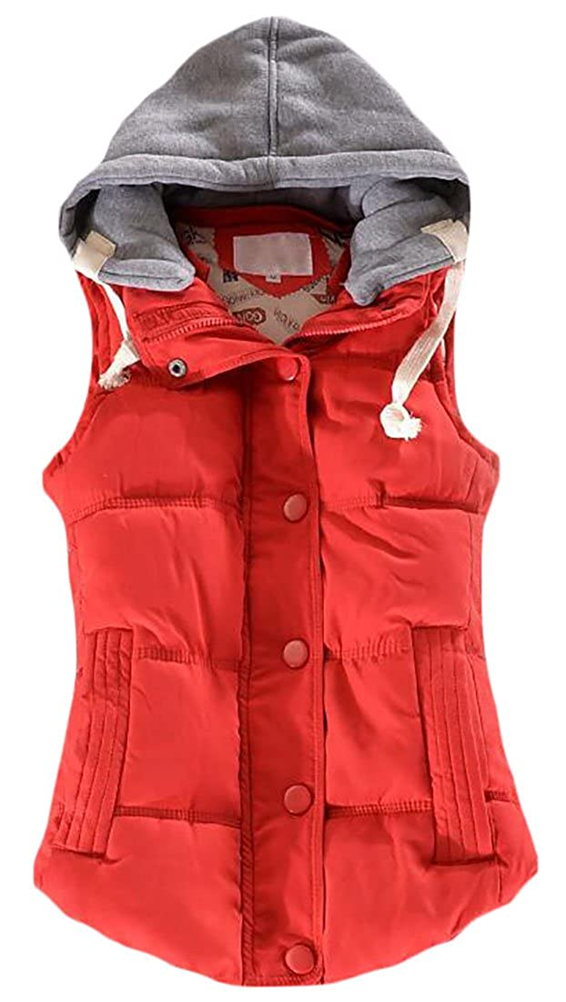 Fulok Women's Casual Sleeveless Puffer Candy Color Removable Hood Vest