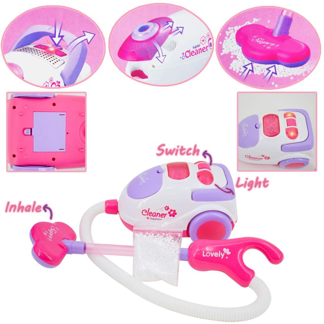 deAO Carrito de la Limpieza Incluye Accesorios y Aspiradora con Efectos de Luz y Sonido