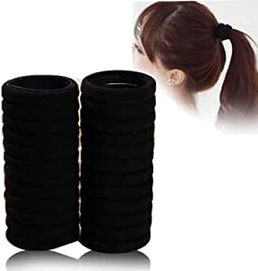 100PcsThick Seamless Cotton Hair Bands, Simply Hair Ties Elastic Ponytail Holders Headband Scrunchies Hair AccessoriesNo Crease Damage for Thick Hair