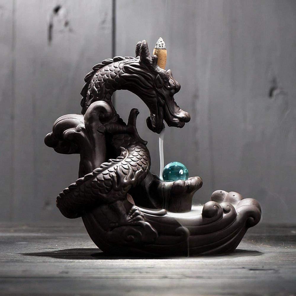Incense Holder Ceramics Dragon Backflow Incense Burner, Cone Stick Incense Holder Home Decor Aromatherapy Ornament + 10 Cone Incense Free by FENBEN (Image #2)