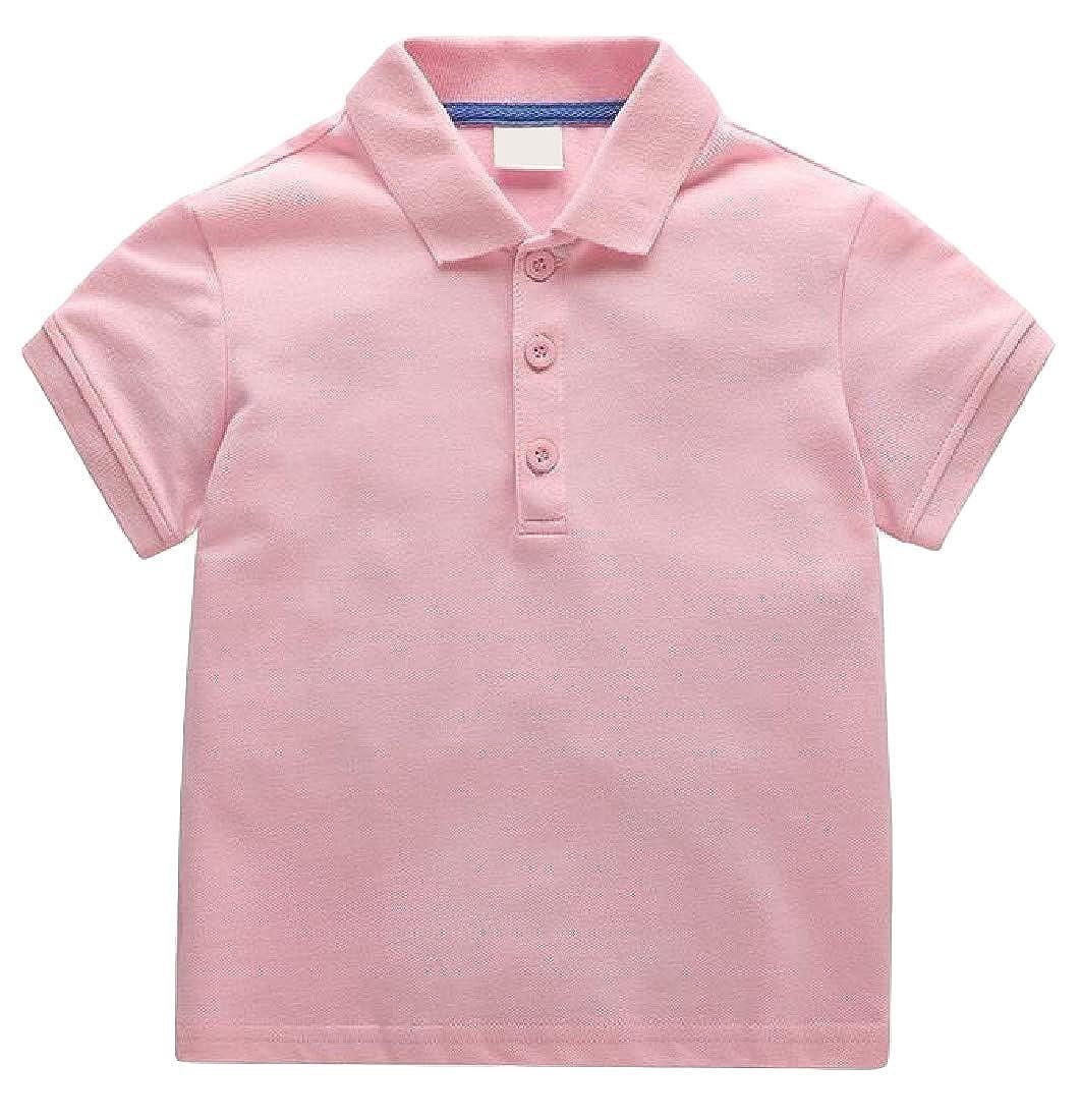 Wofupowga Boys Short Sleeve Lapel Collar Polos Shirt Top Casual T-Shirt