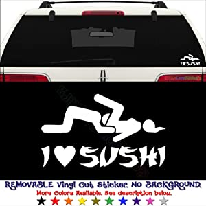 GottaLoveStickerz I Love Sushi Sex Food Japanese JDM Permanent Vinyl Decal Sticker for Laptop Tablet Helmet Windows Wall Decor Car Truck Motorcycle - Size (12 Inch / 30 cm Wide) - Color (Gloss White)