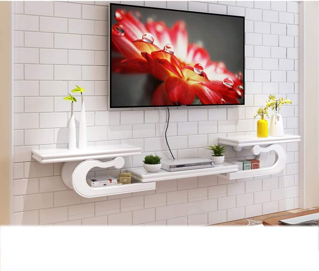 Floating Shelf Wall Mounted Tv Cabinet Tv Shelf Tv Stand Media Console Shelf Audio Video Tv Stand Entertainment Center Shelves Entertainment Unit Cabinet Color White Size 130 190 24 30cm Amazon Co Uk Kitchen