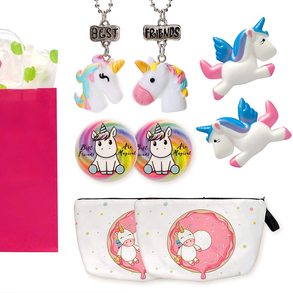 Unicorn Gifts For Girls - Unicorns That Little Girls Will LOVE! - You Get 2 Best Friend Necklaces + Unicorn Squishy + Cool Unicorn Buttons & Zippered Unicorn Cases! - PLUS Gift Packaging Is INCLUDED! by Fine Line Living (Image #1)