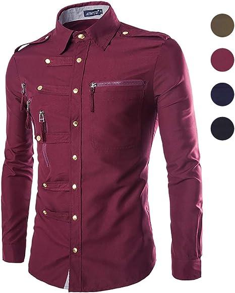 X&Armanis Camisa Casual para Hombre, Camisa con Botones y Bolsillo de Metal Camisa de Manga Larga con Solapa (otoño): Amazon.es: Deportes y aire libre