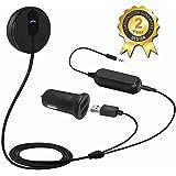 Besign Récepteur Audio Bluetooth 4.1 avec Chargeur USB de voiture 2A Dual Port Récepteur Bluetooth Voiture Adaptateur Bluetooth Audio Kit Mains-libres avec Micro intégré, sortie AUX 3,5 mm, Base magnétique et Isolateur de Terre de Bruit