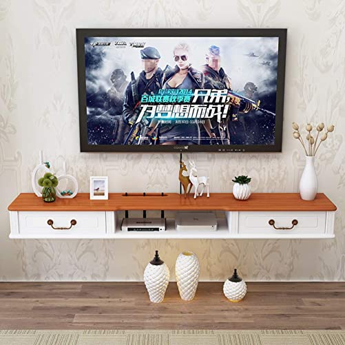 Wall Mounted Media Console,2 Tier Floating Tv Shelf Entertainment Storage Shelf for Cable Box Modern Home Decor Tv Stand B 140x24x16cm 55x9x6inch
