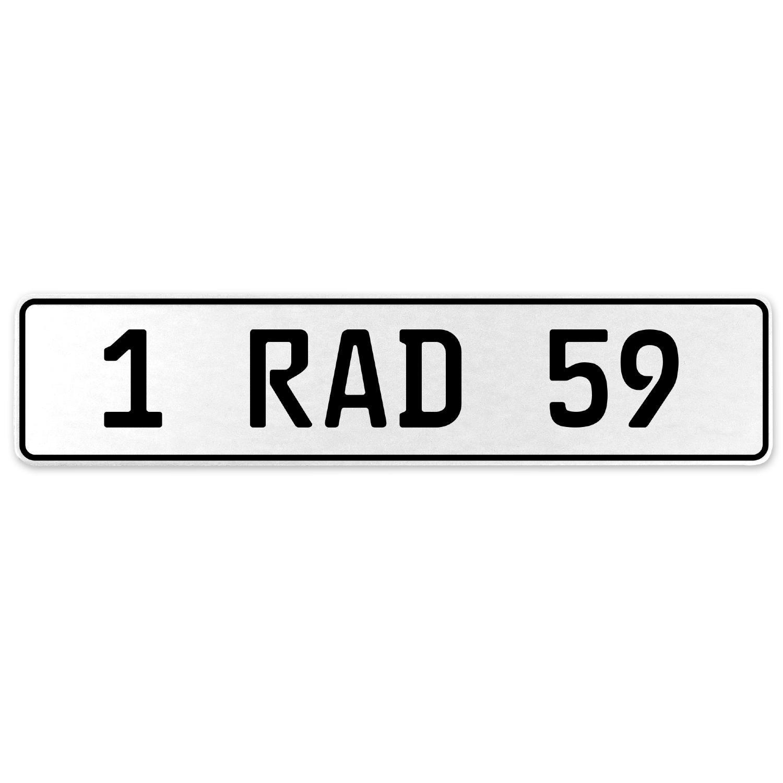 Vintage Parts 554062 1 RAD 59 White Stamped Aluminum European License Plate