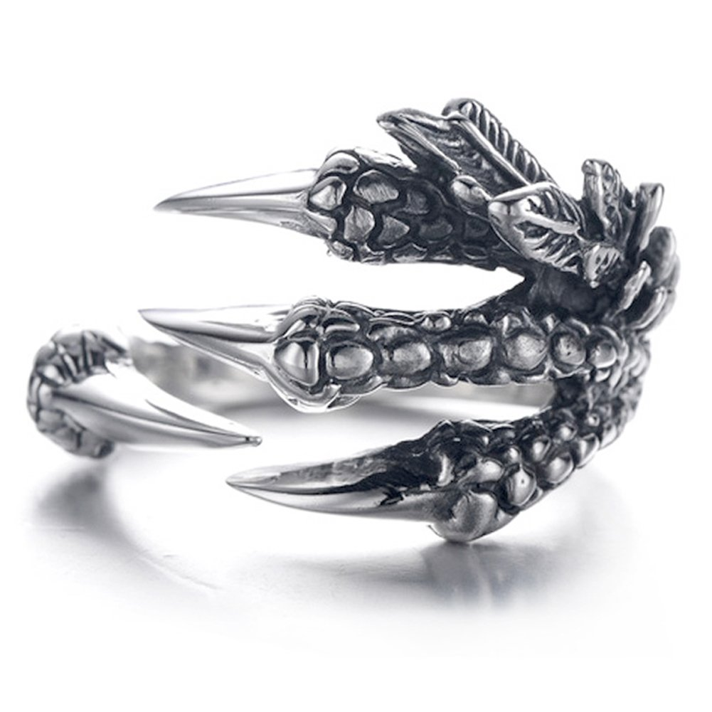 EQLEF Dragon Griffes Anneau, Hommes Gothique Anneau Sauvage Alondra Anneau Dragon Hommes Anneau (A) EQLEF®