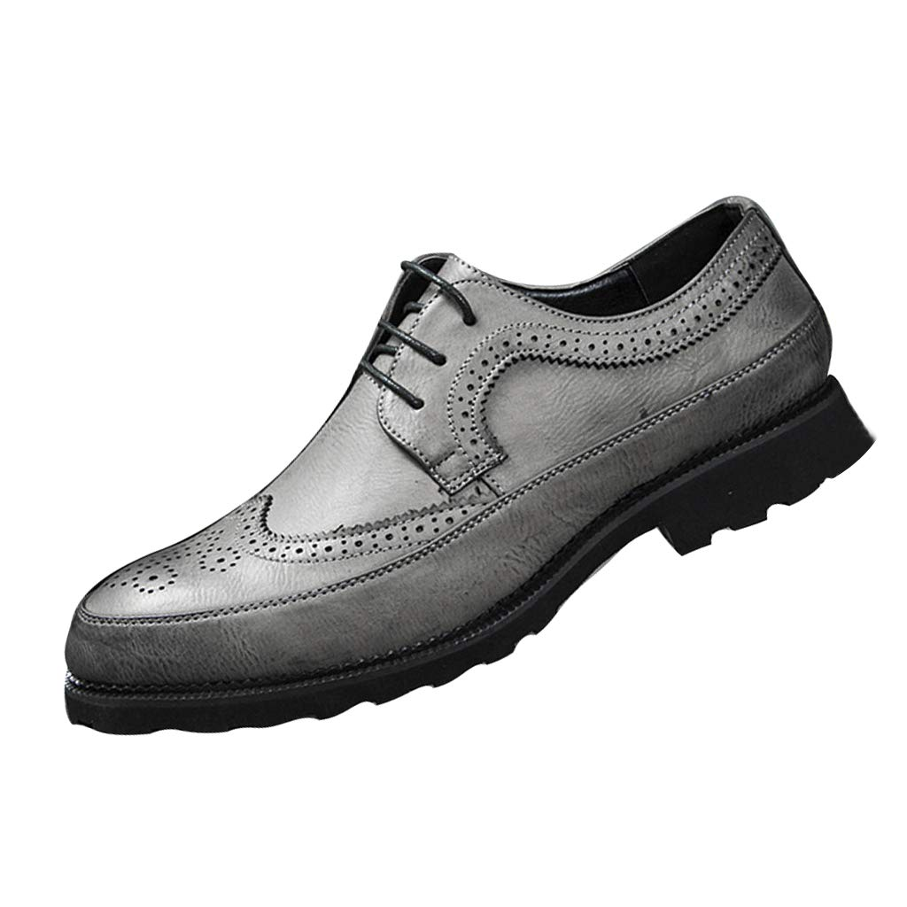 Men's Dunbar Wingtip Leather Brogue Oxford Shoe Slip On Business Dress Shoes for Men (US:10, Gray)