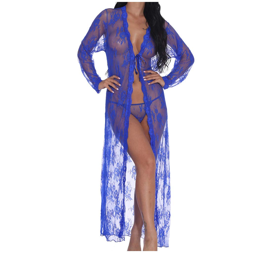 Lingerie for Women, Long Lace Robe Dress, Plus Size See Through Kimono Robe, Long Gown Mesh Nightgown (Blue, L) by EEminola
