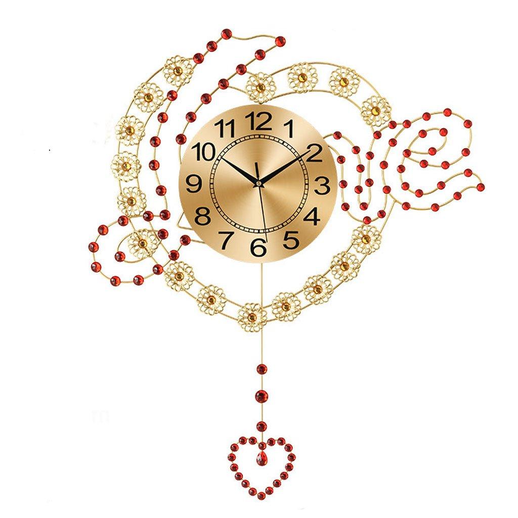 ヨーロッパの現代的なシンプルな明るいリビングルーム静かな壁時計 (色 : Metal plate) B07DT1YRDK Metal plate Metal plate