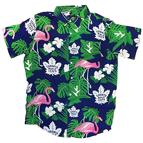 (NHL Toronto Maple Leafs Mens Floral Tropical Button Up ShirtFloral Tropical Button Up Shirt, Team Color,)