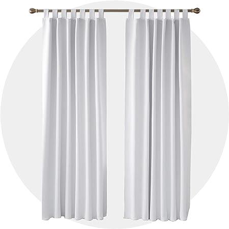 Deconovo Lot de 2 Rideau de Porte Occultants pour Salon Chambre Enfant  Fille Opaque Isolation Thermique à Pattes 117x229cm Blanc pâle Gris