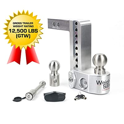 """Weigh Safe WS8-2-KA 8"""" Drop Hitch, 2"""" Receiver 12,500 LBS GTW - Adjustable Aluminum Trailer Hitch Ball Mount w/Built-in Scale, 2 Stainless Steel Balls, Keyed Alike Key Lock and Receiver Pin: Automotive"""