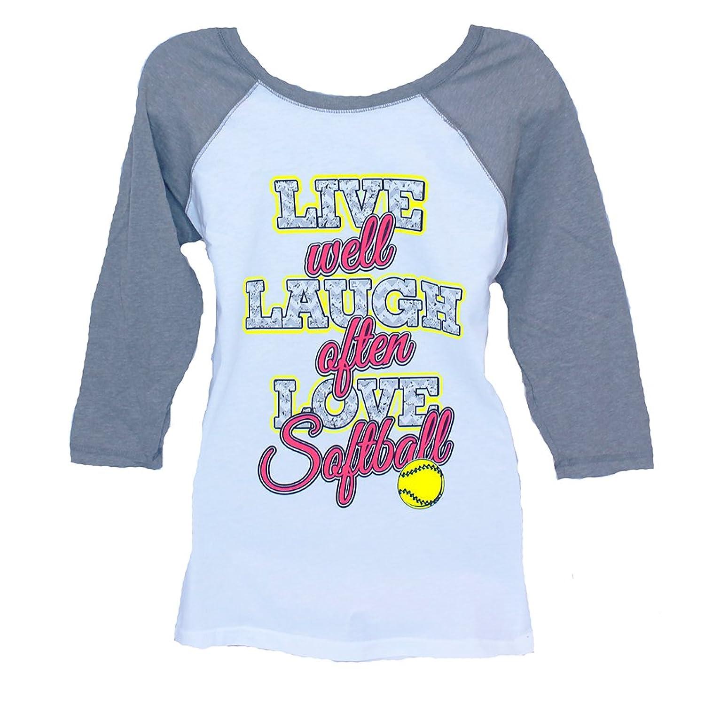 Live Well! Laugh Often! Love Softball 3/4 Sleeve T-shirt