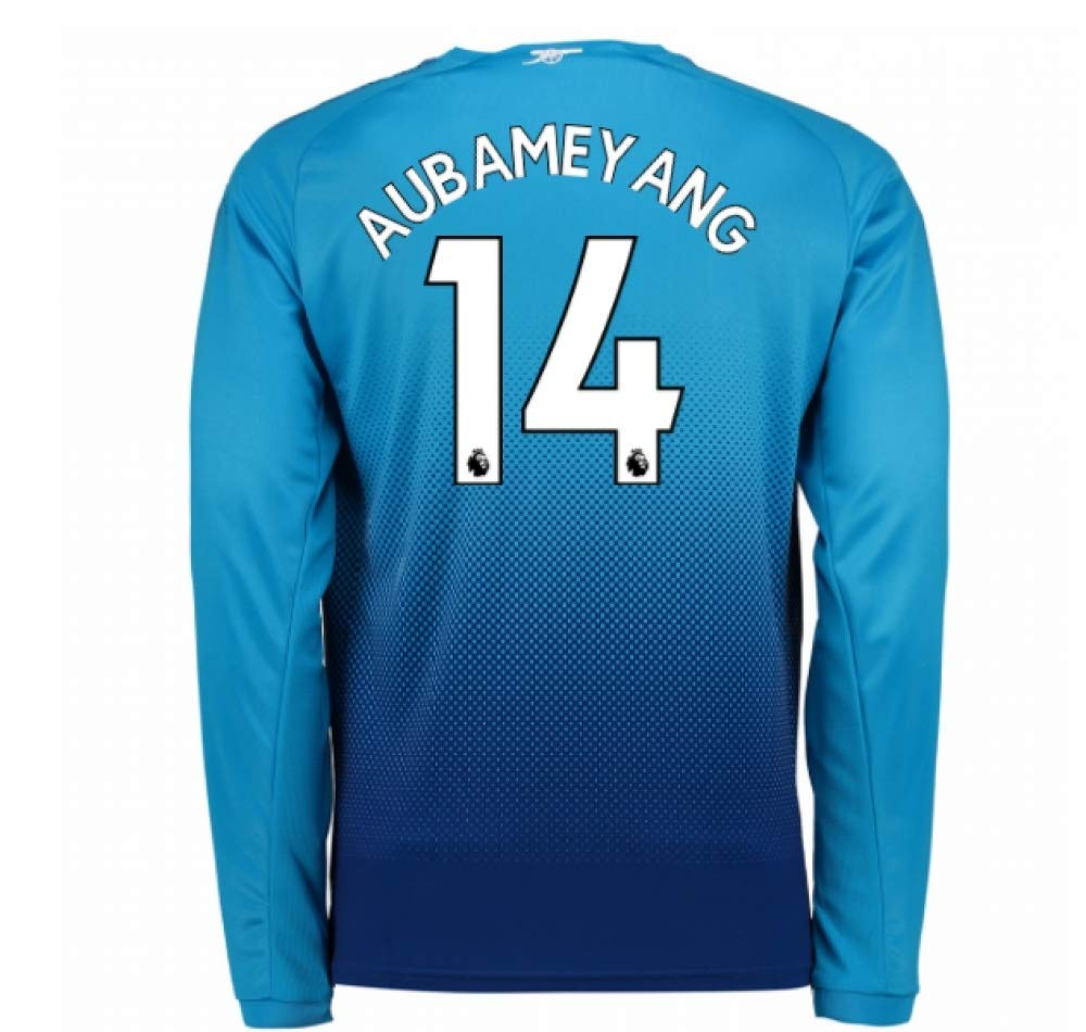2017-2018 Arsenal Arsenal Arsenal Away Long Sleeve Football Soccer T-Shirt Trikot (Pierre Emerick Aubameyang 14) 01d56d