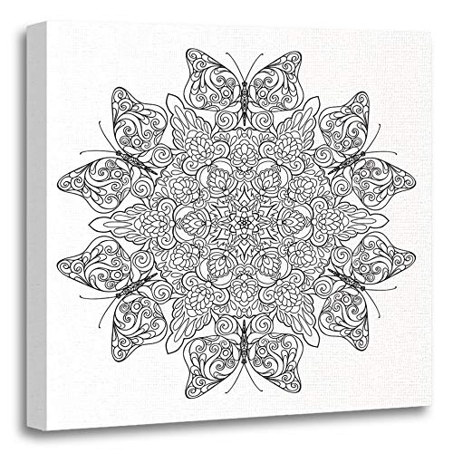 Emvency Painting Canvas Print Artwork Decorative Print Coloring Book for Adult and Older Children Page with Mandala Made of Vintage Wooden Frame 12x12 inches Wall Art for Home Decor ()