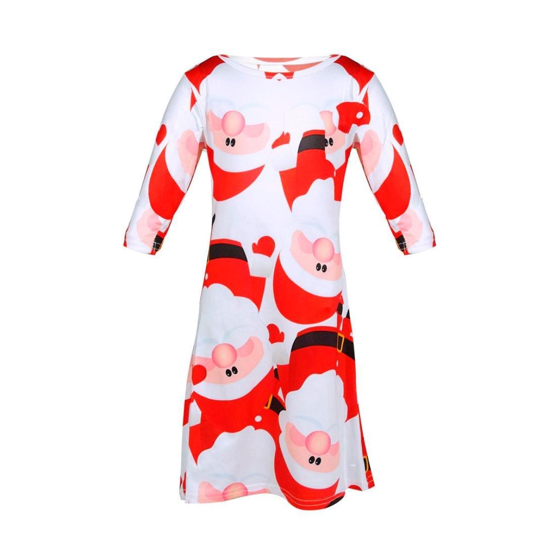 Weihnachten Cocktailkleider Knielang Hirolan Kinderkleider Festlich Kinder Baby Lange Ärmel Weihnachtsmann Drucken die Röcke Rot Swing Party Kleid