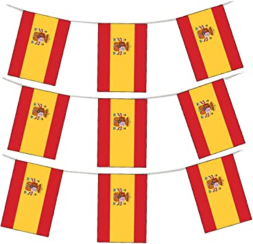 Banderines nacionales de tela de Shatchi Crest de España de 3 m, 10 banderas de rugby para aficionados al fútbol, soporte de decoración, multicolor: Amazon.es: Juguetes y juegos