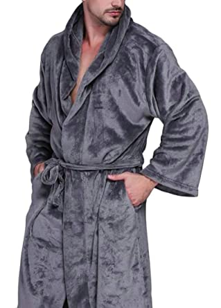 5140251970 Belie Men s Hooded Fleece Velvet Robe Plush Soft Bathrobe 3 XL ...