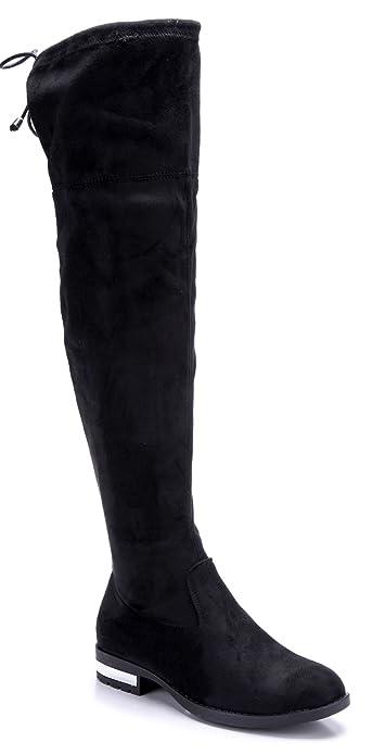ca0272bf075f98 Schuhtempel24 Damen Schuhe Overknee Stiefel Stiefeletten Boots schwarz Blockabsatz  3 cm