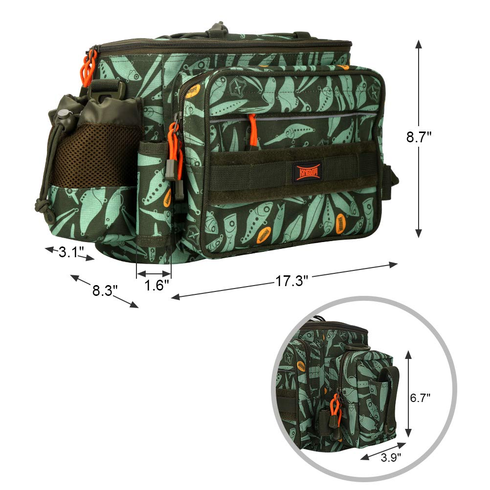 Kingdom Fishing Tackle Storage Bag Waterproof Surface with Large Volume Capacity, Mufti-Functional 17.32 8.27 8.66 inch for Carp, Game and Sea Fishing