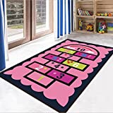 Ukeler Pink Rug Girls Pink Kids Rug, Hopscotch Children's Play Rugs Baby Crawling Mat Nursery Rugs Kids Bedroom Decor Playroom Play Mat School Classroom Learning Carpet Educational Rug 4'.5 x 6'.5