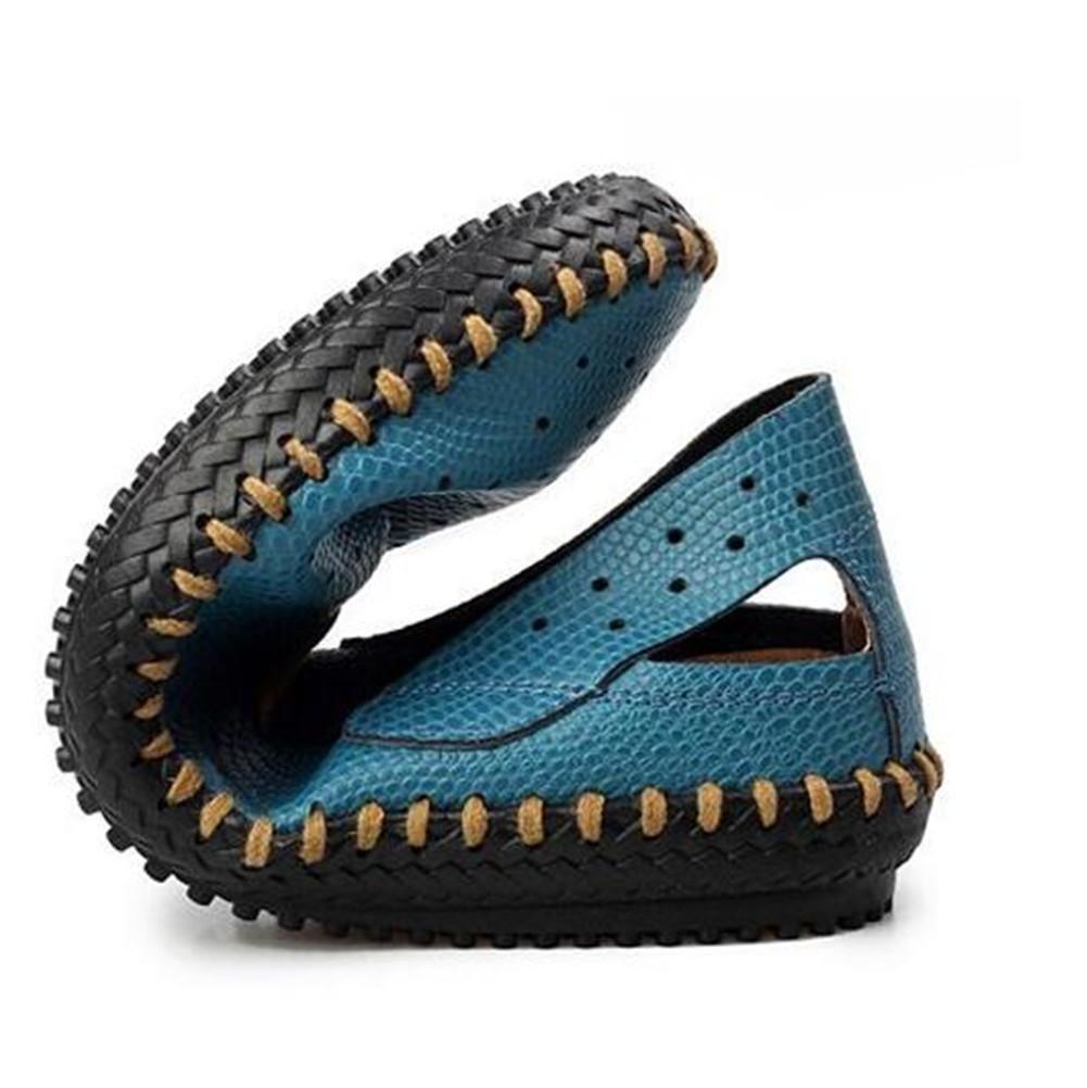 NSLXIE Männer Sandalen Schuhe Aus Echtem Leder Sandalen Männer Strand Sommer Geschlossene Zehe Pull auf Slipper Atmungsaktive Slides Rutschfeste Weichen Sohlen Größe 38 bis 43, schwarz, EU40 schwarz-eu40 038fac