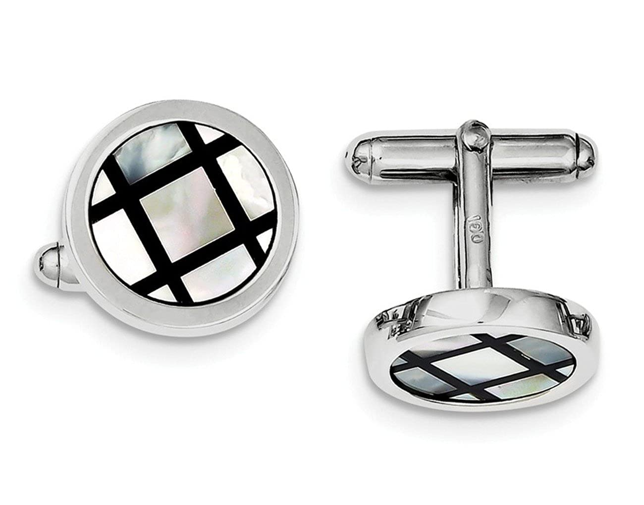Sterling Silver Rhodium-plated Mother Of Pearl /& Enamel Cuff Links