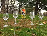 The Wine Savant Tall Picnic Sticks Wine Glass and Bottle Stakes, 5 Piece Set, Perfect for Blanket or Low Seating (Stainless Steel)