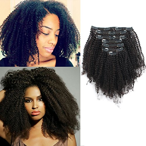 Search : AmazingBeauty Double Weft 8A Grade Big Thick 4B 4C Afro Coily Hair Clip Ins for African American Black Women, Real Remy Human Hair, Natural Black, 120 Gram, A4C 14 Inch