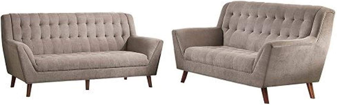 Amazon Com Homelegance Erath Danish 2 Pieces Living Room Sofa Set Sand Furniture Decor