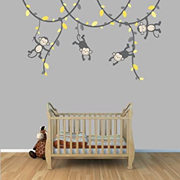Amazoncom  Yellow And Gray Monkey Wall Decal For Baby Nursery Or - Yellow wall decals