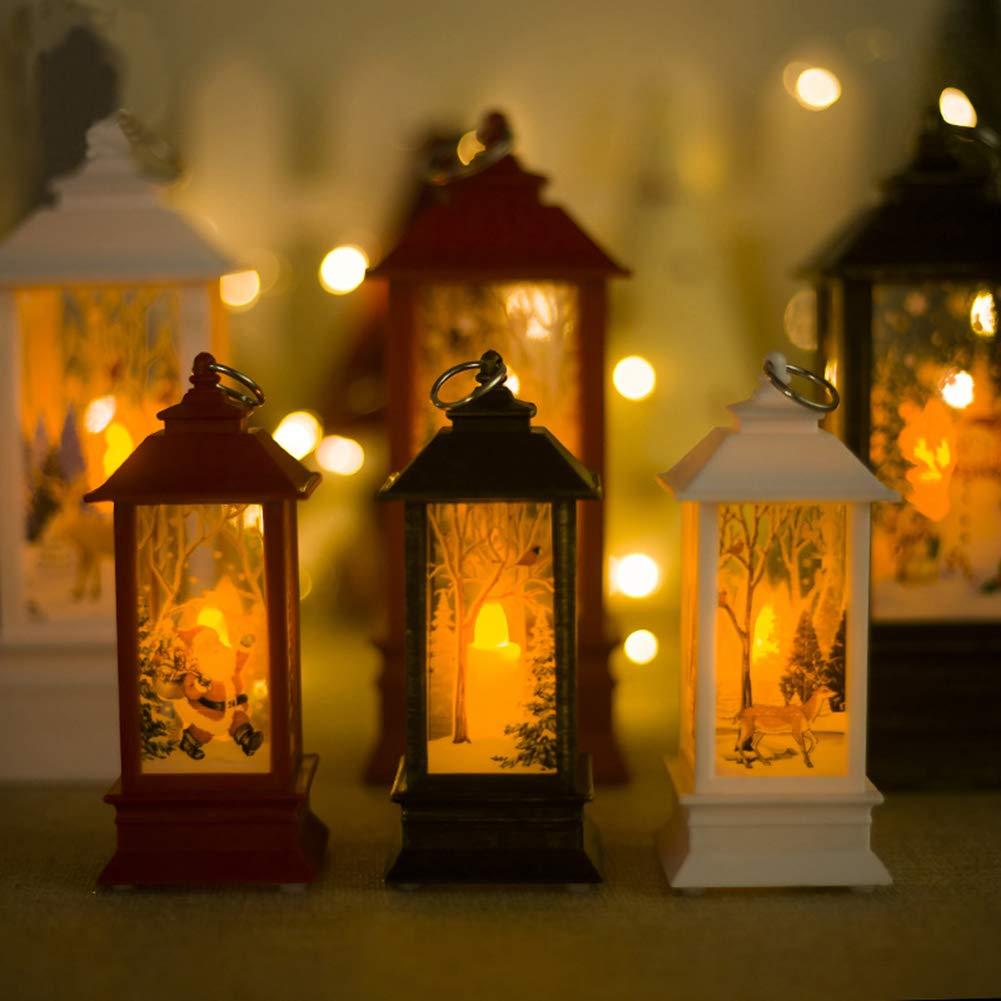 lightclub Santa Claus Deer Windproof LED Candle Holder Christmas Candlestick Home Decor Antique BronzeL