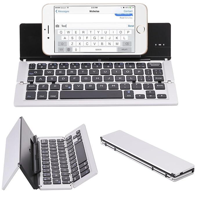NOVT Foldable Aluminum Bluetooth Keyboard with Tablet/Phone Stand for  iPhone x/8 Plus/8/7 Plus/7/6s,iPad 4/3/2, iPad Pro, iPad Air 2/1,iPad Mini