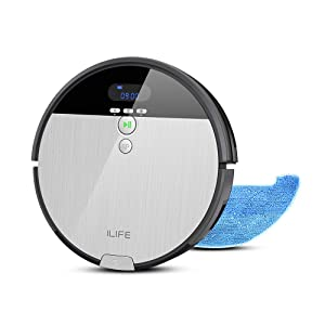ILIFE V8s Robot Vacuum Cleaner and Mop Combo, XL 750ml Dustbin, Ideal for Pet Hair & Hard Floors,Self-Adjustable Suction Port, Tangle-Free Design, Slim & Quiet, Self-Charging