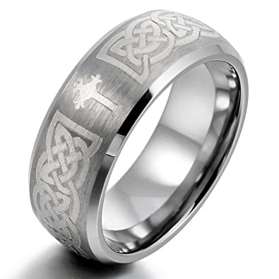 Inblue Men S Tungsten Ring Band Silver Tone Irish Celtic Knot Cross