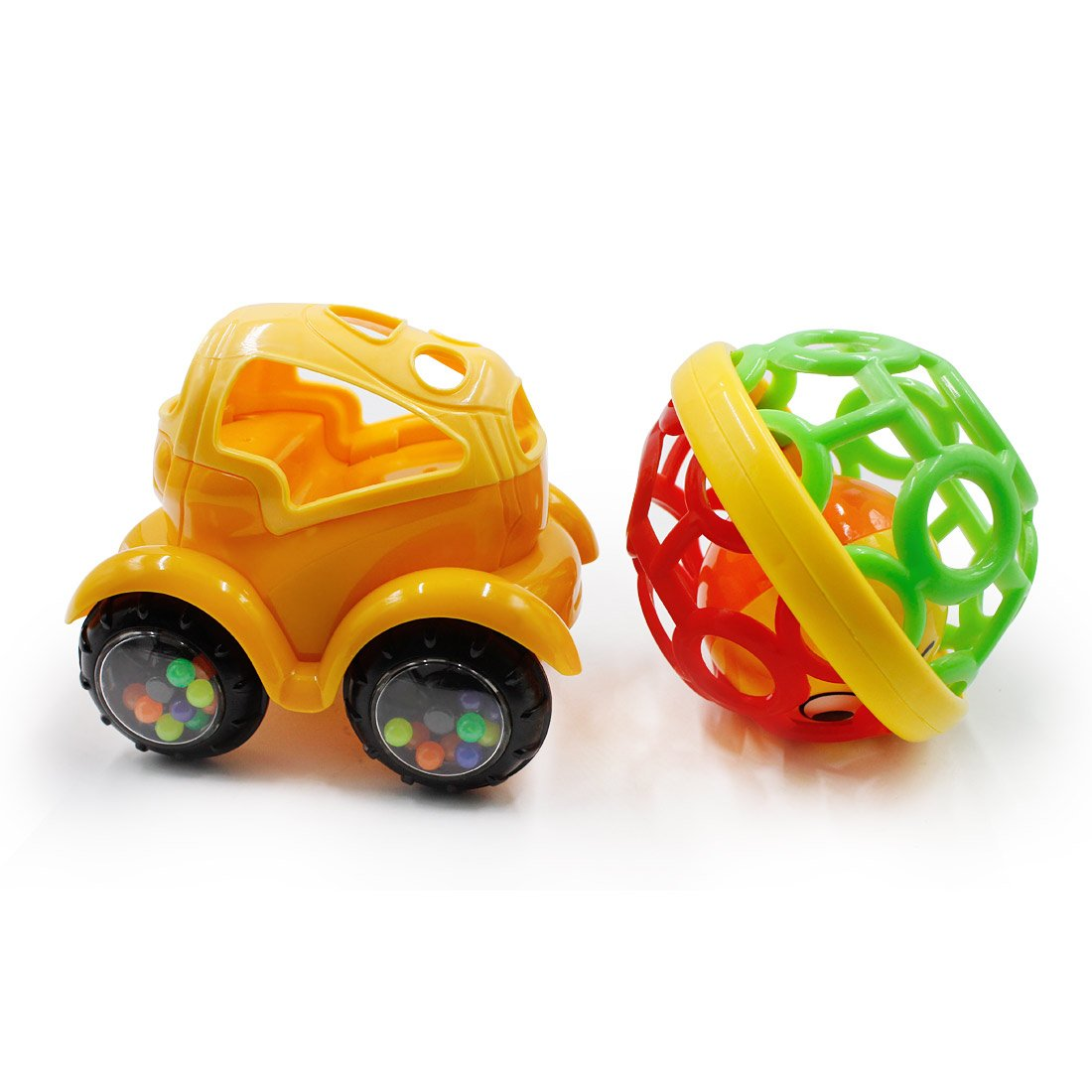 BEIHUI Baby Infant Girl Boy Children Kids Toys Rattle Rolling Play Car Ball Toddler Toys Vehicle Newborn Bendy Ball Toy For 3 Months, 2 Pack