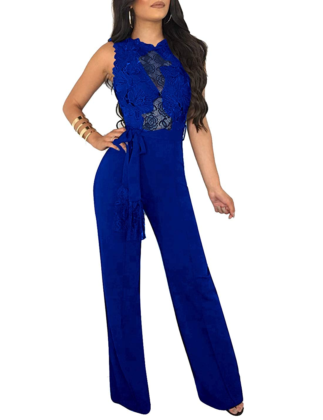 Women Elegant Jumpsuits Rompers Sleeveless Casual Palazzo Pants Overall