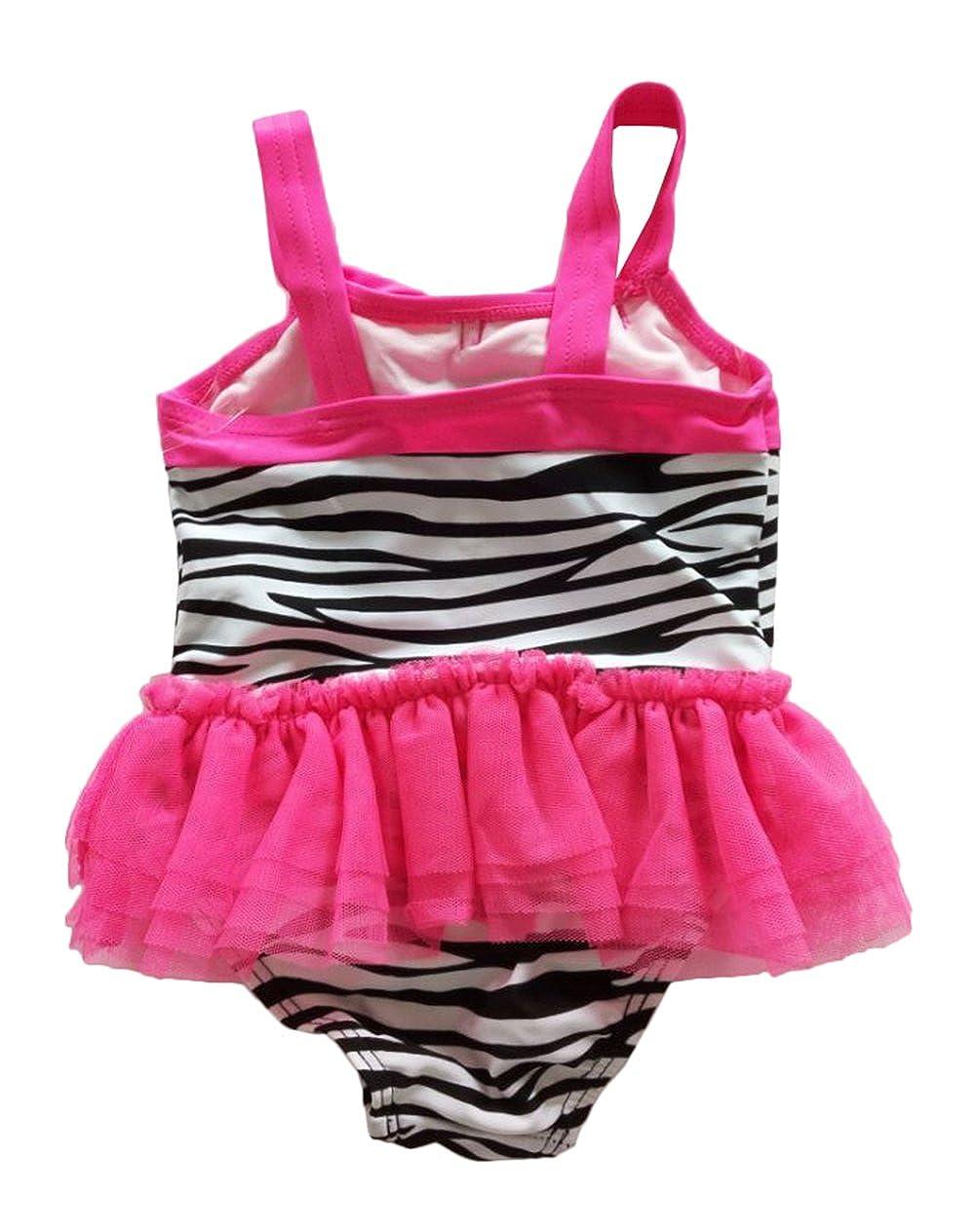 Infant Little Girls Zebra Hot Pink Lace Swimwear Swimsuits One Piece