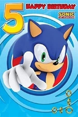 Sonic The Hedgehog Age 5 Birthday Card Amazon Office Products